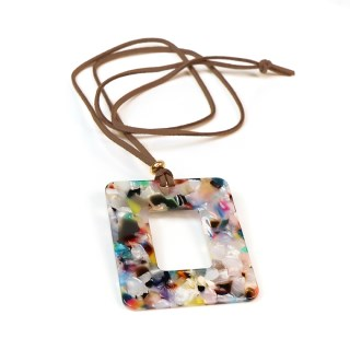 Multicoloured resin pendant on a long taupe cord | Image 3