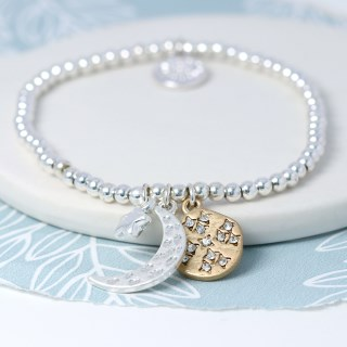Silver plated moon, star and golden crystal disc bracelet  | Image 3