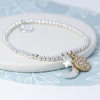 Silver plated moon, star and golden crystal disc bracelet  | Image 2