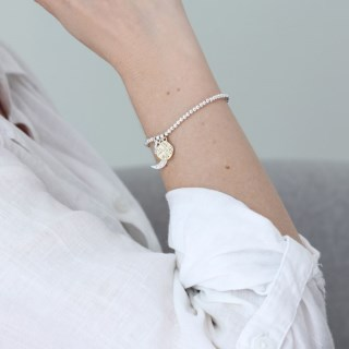Silver plated moon, star and golden crystal disc bracelet  | Image 5
