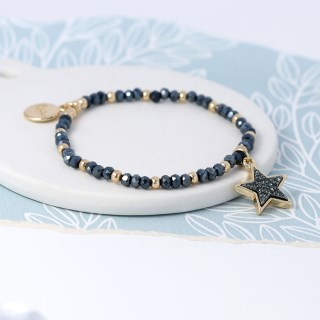 Dark bead and golden star bracelet with sparkle centre | Image 3
