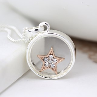 Silver plated circle necklace with crystal star | Image 3