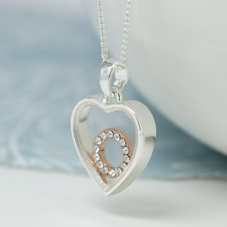 Silver plated heart necklace with a crystal circle | Image 3