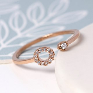 Rose gold plated open circle and crystal ring - S/M | Image 2