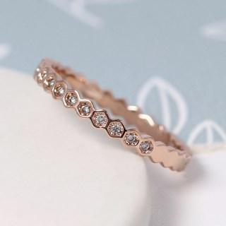 Rose gold plated hexagon ring with crystals - S/M | Image 3