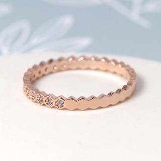 Rose gold plated hexagon ring with crystals - M/L | Image 4
