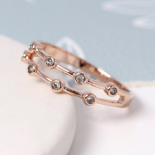 Rose gold double layer ring with crystals - S/M | Image 3