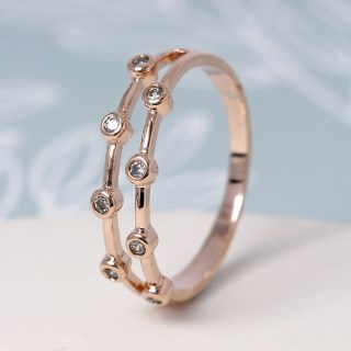 Rose gold double layer ring with crystals - S/M | Image 2