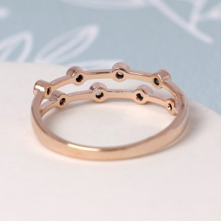 Rose gold double layer ring with crystals - M/L | Image 4