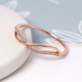 Rose gold plated crossed wave and crystal ring - M/L | Image 3