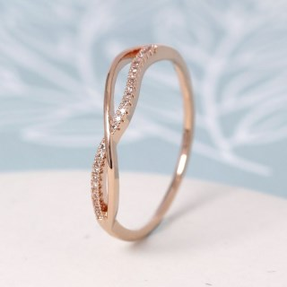 Rose gold plated crossed wave and crystal ring - M/L | Image 2