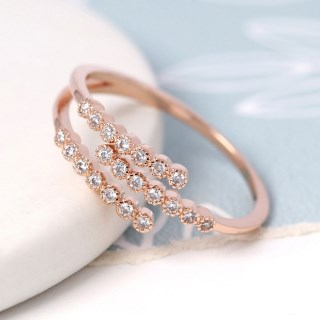 Rose gold plated triple strand crystal inset ring - S/M | Image 3