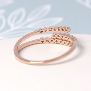 Rose gold plated triple strand crystal inset ring - S/M | Image 4