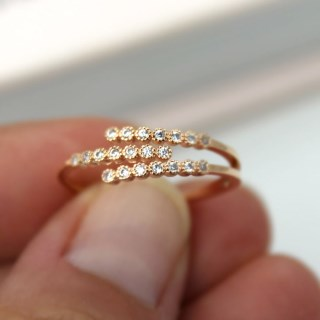 Rose gold plated triple strand crystal inset ring - S/M | Image 5