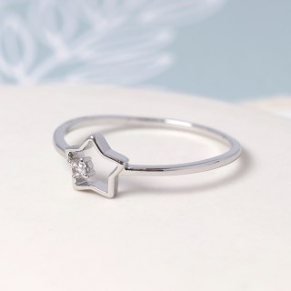 White gold plated open star ring with crystal - S/M | Image 3