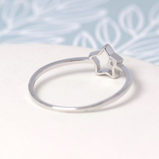 White gold plated open star ring with crystal - S/M | Image 4