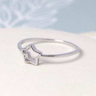 White gold plated open star ring with crystal - M/L | Image 3