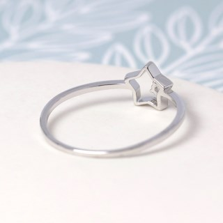 White gold plated open star ring with crystal - M/L | Image 4