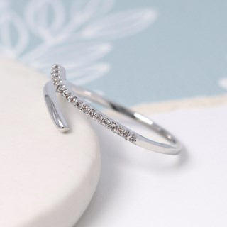 White gold plated open ring with crystal curve - S/M | Image 3