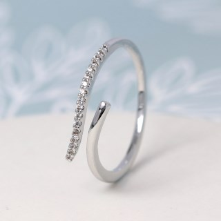 White gold plated open ring with crystal curve - S/M | Image 2