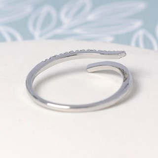 White gold plated open ring with crystal curve - S/M | Image 4