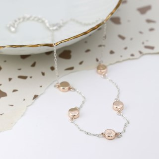 Silver plated necklace with rose gold plated discs | Image 3
