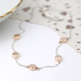 Silver plated necklace with rose gold plated discs | Image 2