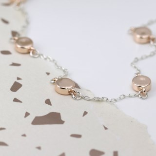 Silver plated necklace with rose gold plated discs | Image 5