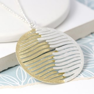 Silver and gold plated wave disc necklace | Image 3