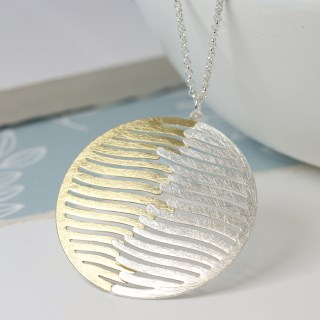 Silver and gold plated wave disc necklace | Image 2