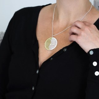 Silver and gold plated wave disc necklace | Image 6