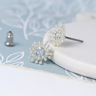 Silver plated crystal earrings with tiny bead clusters | Image 4