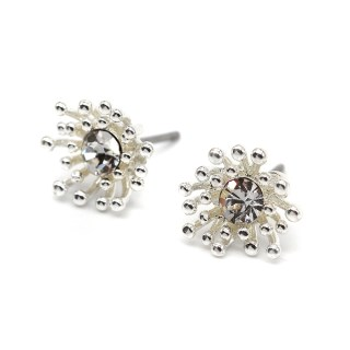 Silver plated crystal earrings with tiny bead clusters | Image 5