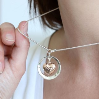 Rose gold hammered heart and silver circle necklace | Image 7