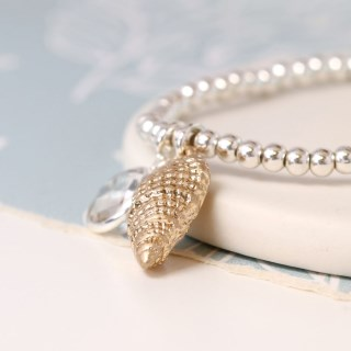 Silver plated bracelet with golden shell and crystal | Image 3