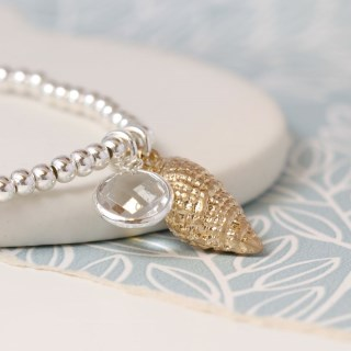 Silver plated bracelet with golden shell and crystal | Image 2