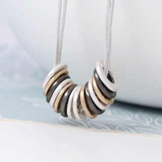 Mixed metallic multi hoop and triple chain necklace | Image 3