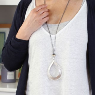Long cord necklace with a large silver plated teardrop | Image 2