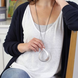 Long cord necklace with a large silver plated teardrop | Image 3