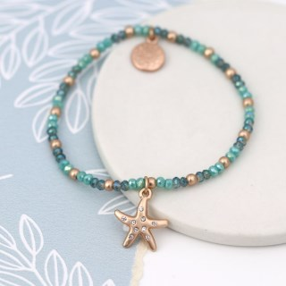 Aqua bead bracelet with a rose gold crystal starfish | Image 2