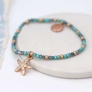 Aqua bead bracelet with a rose gold crystal starfish | Image 3