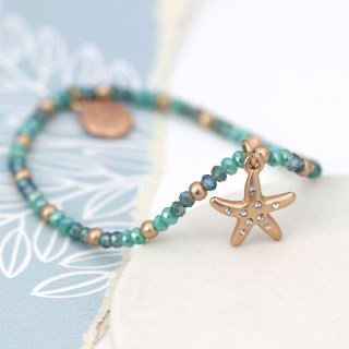 Aqua bead bracelet with a rose gold crystal starfish | Image 4