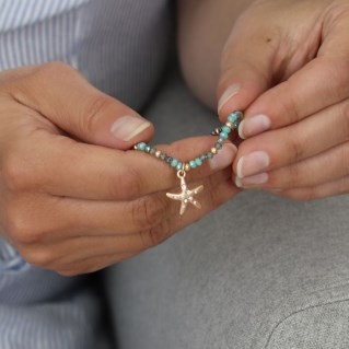 Aqua bead bracelet with a rose gold crystal starfish | Image 7
