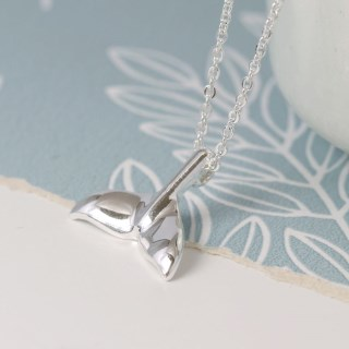 Silver plated whale tail and fine chain necklace | Image 2