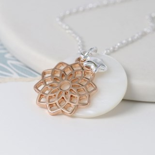 Mother of pearl disc, rose gold mandala and star necklace | Image 2