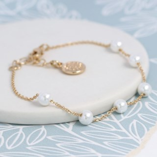 Gold plated chain and white faux pearl bracelet | Image 3