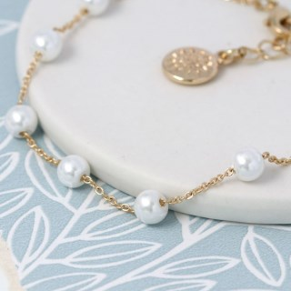 Gold plated chain and white faux pearl bracelet | Image 2