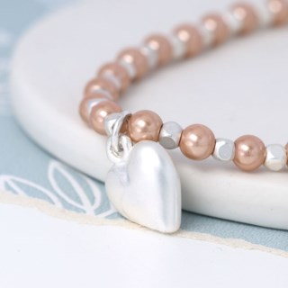 Pink faux pearl and silver plated matt heart bracelet | Image 3