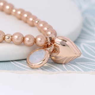 Pink pearl bracelet with rose gold heart and smoky crystal | Image 3