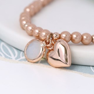 Pink pearl bracelet with rose gold heart and smoky crystal | Image 2